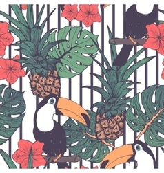 Seamless pattern with toucans pineapple and vector