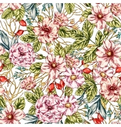 Seamless Wild rose Pattern vector image