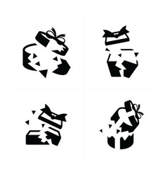set black gift icons is damage vector image