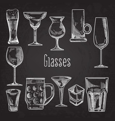 set of different drink glasses stemware vector image