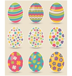 Set of nine colorful easter eggs vector image vector image