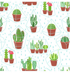 Succulents seamless background cactuses and vector
