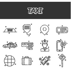 taxi flat concept icons vector image vector image