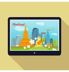 Thailand Travelling banner Thai Landmarks Tablet vector image vector image