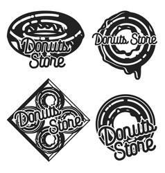 Vintage donuts store emblems vector