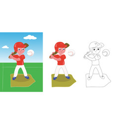 young baseball player vector image vector image