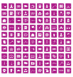 100 criminal offence icons set grunge pink vector image vector image