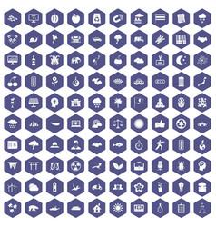 100 harmony icons hexagon purple vector