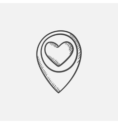 Map pointer with heart sketch icon vector image