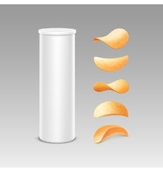 Set of white tin box tube with potato chips vector