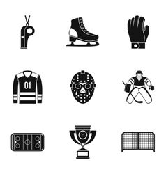 Canadian hockey icons set simple style vector