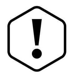 Black sexangle exclamation mark icon warning sign vector