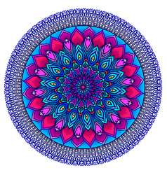 Brightly highly detailed mandala in purple-blue vector