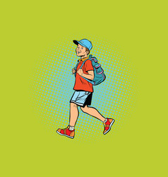 Boy student with a backpack goes to school or vector