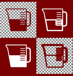 Beaker sign  bordo and white icons and vector