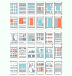 Mobile phone flow charts wireframes vector