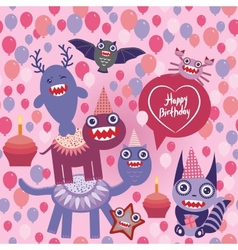 Happy birthday funny monsters party design vector