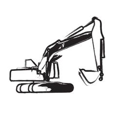 Excavator work vector image