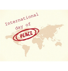 International day of peace with map vector