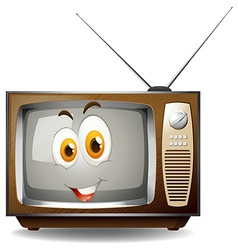 Retro television with happy face vector