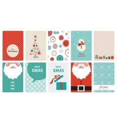 Cute collection of vintage christmas greeting vector