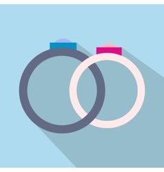 Wedding rings flat icon vector