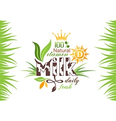 Milk banner with emblem and grass vector