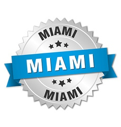 Miami round silver badge with blue ribbon vector