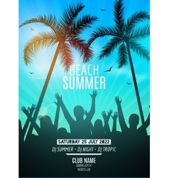 Summer beach party design template party people vector