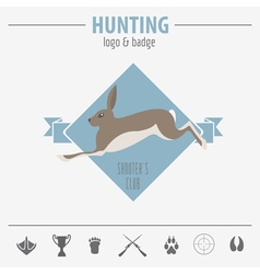 Hunting logo and badge template flat design vector