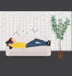 Man lying relaxing on the sofa couch and listen vector