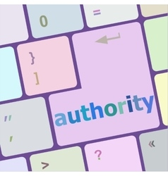 autority button on computer keyboard key vector image