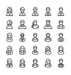 Avatars line icons 3 vector