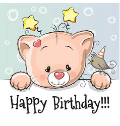 Birthday card with kitten vector