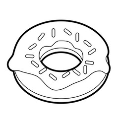 Black silhouette cartoon donut with sparks vector