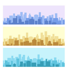 Blue and yellow daytime urban cityscape vector