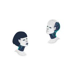 cartoon man woman cyborg heads icon vector image