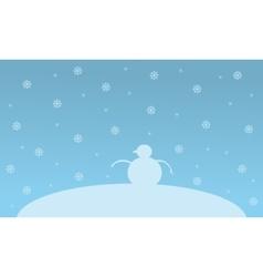 Christmas landscape snowman on the hill vector