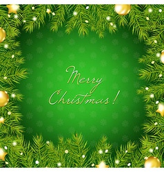 Christmas Tree Border With And Gold Ball vector image vector image