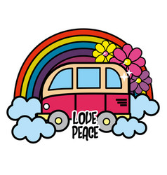 Cute minibus with rainbow clouds and flowers vector