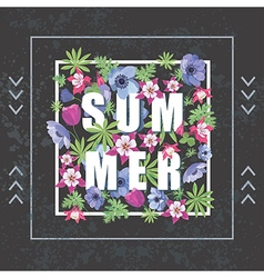 Fashion print for t-shirt summer floral banner vector
