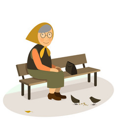grandmother elderly old woman sitting on a bench vector image vector image