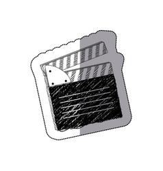 Grayscale clapper board icon vector