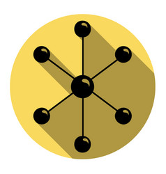 Molecule sign flat black vector