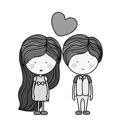 monochrome man and woman with heart floating vector image
