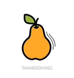 Pear icon harvest thanksgiving vector