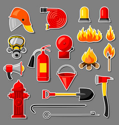 Set of firefighting stickers fire protection vector