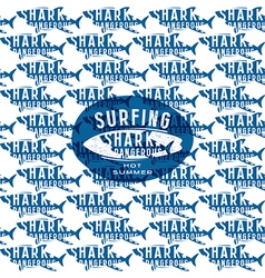 Shark seamless pattern and surfing emblem vector image vector image