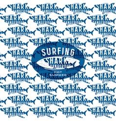Shark seamless pattern and surfing emblem vector