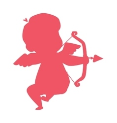 Silhouette of cupid valentine angel love child vector image